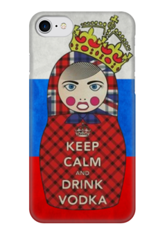 "Чехол для iPhone 7 глянцевый ""Keep Calm Matryoshka "" - россия, водка, матрёшка, keep calm, matryoshka"