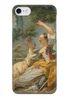 """Чехол для iPhone 7 глянцевый """"Пастушка"""" - картина, фрагонар"""