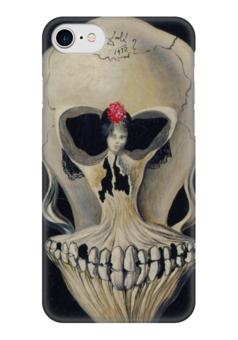 "Чехол для iPhone 7 глянцевый ""Сальвадор Дали /Ballerina in a Deaths Head"" - череп, любовь, арт, девушка, кости, сальвадор дали, дали, сюрреализм, salvador dali, балерина"