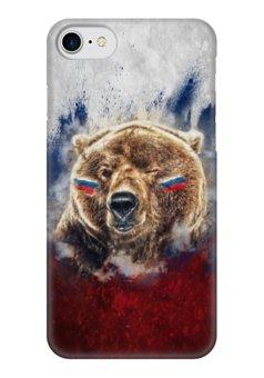 "Чехол для iPhone 7 глянцевый ""Русский Медведь"" - флаг, триколор, россия, футбол, медведь"