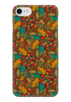 """Чехол для iPhone 7 глянцевый """"Растительный дудл узор"""" - узор, орнамент, абстракция, дудл"""