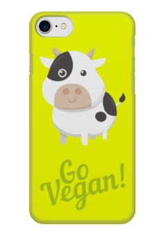 """Чехол для iPhone 7 глянцевый """"Go Vegan!"""" - природа, веган, vegan, go vegan, этика"""