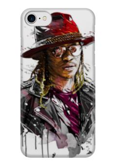 """Чехол для iPhone 7 глянцевый """"Человек в шляпе"""" - человек, шляпа, очки, куртка, арт"""