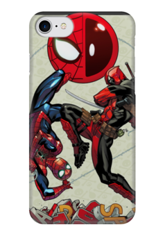 "Чехол для iPhone 7 глянцевый ""Spidey & Deadpool"" - комиксы, марвел, человек-паук, дэдпул, питер паркер"