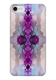 "Чехол для iPhone 7 глянцевый ""Аметисты"" - серый, белый, голубой, фиолетовый"