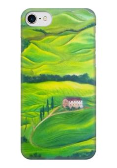 """Чехол для iPhone 7 глянцевый """"Тоскана"""" - италия, деревья, зеленый, трава"""
