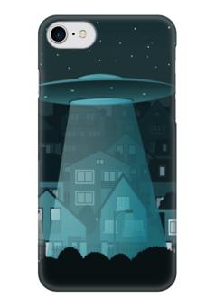"""Чехол для iPhone 7 глянцевый """"НЛО в городе"""" - город, свет, нло"""