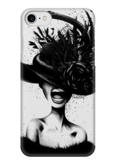 "Чехол для iPhone 7 глянцевый ""Scream"" - ретро, губы, шляпа, иллюстрация"