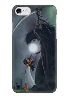 """Чехол для iPhone 7 глянцевый """"Смерть и девочка"""" - смерть, смерть с косой, девочка, череп, skull"""
