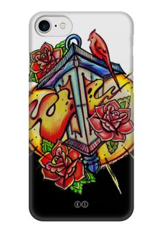 """Чехол для iPhone 7 глянцевый """"lantern """" - цветы, огонь, птица, свет, розы, fire, фонарь, tm kiseleva"""