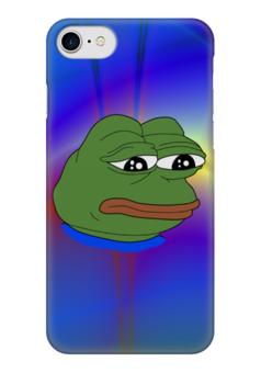 """Чехол для iPhone 7 глянцевый """"Pepe Frog"""" - мем, грустная лягушка, sad frog, pepe frog, pepe the frog"""