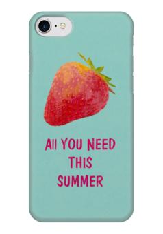 "Чехол для iPhone 7 глянцевый ""All you need"" - лето, юмор, еда, клубника, акварель"