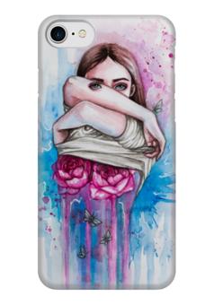 """Чехол для iPhone 7 глянцевый """"Обнажая сущность"""" - гранж, арт, девушка, розы, сюрреализм"""