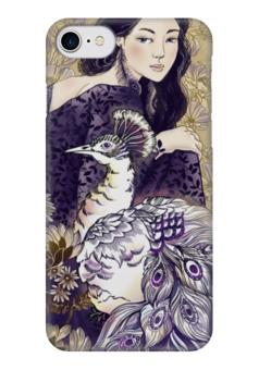 """Чехол для iPhone 7 глянцевый """"Девушка и Павлин"""" - девушка, иллюстрация, графика, животные"""