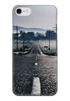 "Чехол для iPhone 7 глянцевый ""Дорога"" - дорога, страны, города, дизайн, пунктир"