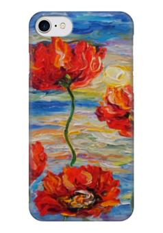 "Чехол для iPhone 7 глянцевый ""Отблески заката"" - red, солнце, море, красота, flowers, маки, poppy"