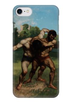 "Чехол для iPhone 7 глянцевый ""Борцы (Гюстав Курбе)"" - картина, курбе"