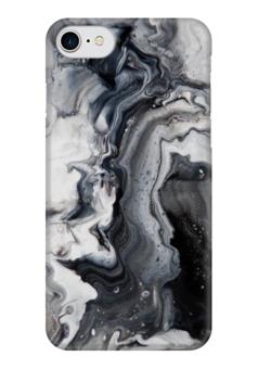 """Чехол для iPhone 7 глянцевый """"Мрамор (2)"""" - черный, мрамор, marble, stone, серый"""