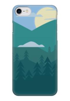 "Чехол для iPhone 7 глянцевый ""Ночные горы"" - природа, пейзаж, горы, луна"