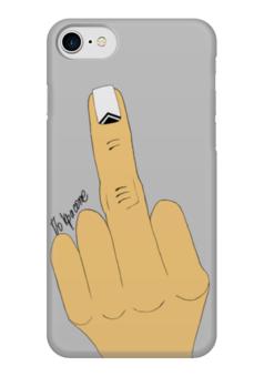 "Чехол для iPhone 7 глянцевый ""Палец с маникюром"" - палец, фак, маникюр, жесты, ногти"