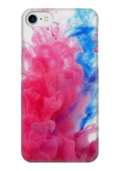 """Чехол для iPhone 7 глянцевый """"Краски"""" - голубой, розовый, краски, дым"""