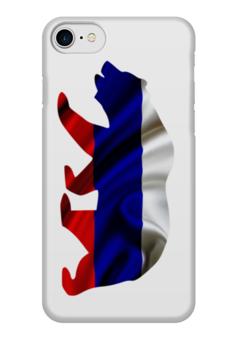 "Чехол для iPhone 7 глянцевый ""Русский Медведь"" - bear, медведь, русский, флаг, russian"