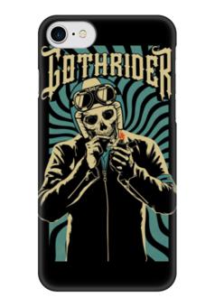 "Чехол для iPhone 7 глянцевый ""Gothrider"" - череп, байкер, рокер, biker, gothrider"