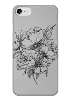"""Чехол для iPhone 7 глянцевый """"Цветы """" - цветы, тату"""