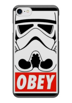 """Чехол для iPhone 7 глянцевый """"obey """" - star wars, obey, звездные войны, stormtrooper, штурмовик"""