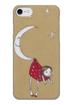 """Чехол для iPhone 7 глянцевый """"На крючке у месяца"""" - девушка, девочка, луна, звёзды, месяц"""