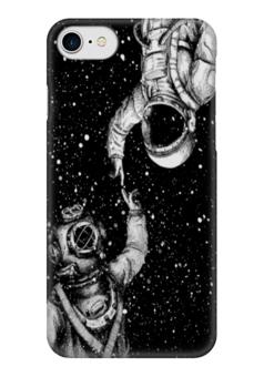 """Чехол для iPhone 7 глянцевый """"Прикосновение"""" - звезды, космос, вселенная, водолаз, космонавт"""