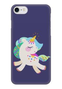 """Чехол для iPhone 7 глянцевый """"Милый единорог"""" - бохо, мультяшный, единорожек, единорог, милый"""