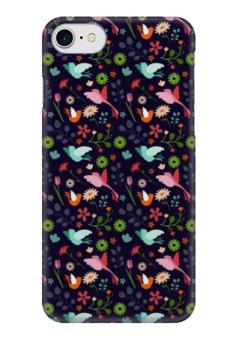 """Чехол для iPhone 7 глянцевый """"Birds & Flowers"""" - цветы, дизайн, птицы, природа"""