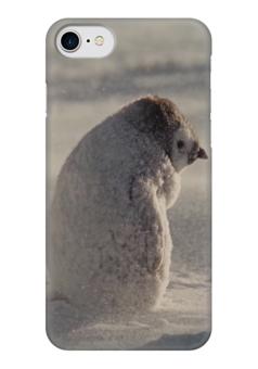"""Чехол для iPhone 7 глянцевый """"Пингвин"""" - грусть, пингвинчик, мимишный"""