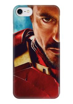 "Чехол для iPhone 7 глянцевый ""Iron Man"" - комиксы, кино, marvel, железный человек, iron man, tony stark, тони старк, роберт дауни"