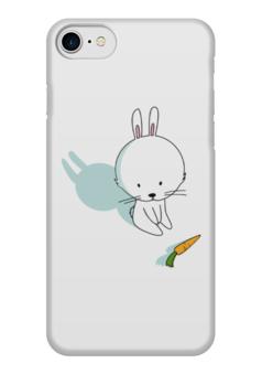 """Чехол для iPhone 7 глянцевый """"Кролик с морковкой"""" - зима, белый, заяц, зайчик, морковка"""