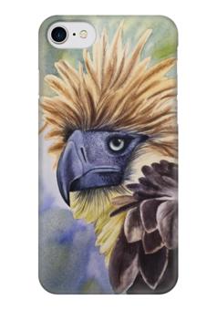 """Чехол для iPhone 7 глянцевый """"Филиппинский орел """" - животные, птица, орел, перья"""
