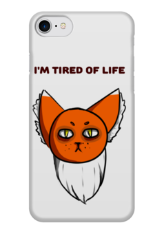 "Чехол для iPhone 7 глянцевый ""I'm tired of life"" - tired cat, кот, безысходность"