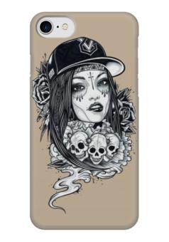 """Чехол для iPhone 7 глянцевый """"Девушка и черепа с розами"""" - череп, девушка, цветы, черепа, розы"""