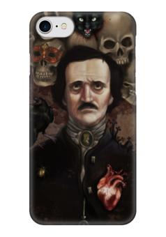 """Чехол для iPhone 7 глянцевый """"Эдгар По"""" - эдгар по, ужасы, готика, литература, череп"""