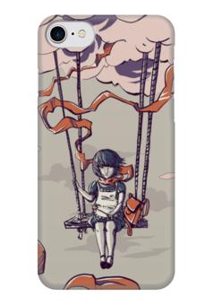 """Чехол для iPhone 7 глянцевый """"Девочка на воздушном шаре"""" - девочка, воздушный шар"""