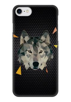 "Чехол для iPhone 7 глянцевый ""Волк (Wolf)"" - волк, wolf, полигоны, polygons"
