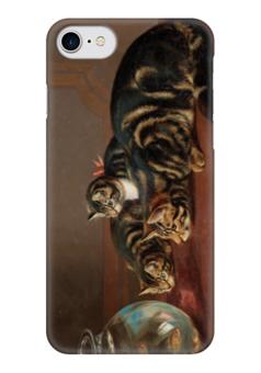 "Чехол для iPhone 7 глянцевый ""Cats by a fishbowl"" - картина, коулдри"