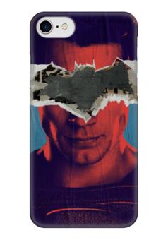 "Чехол для iPhone 7 глянцевый ""Бэтмен против Супермена"" - комиксы, бэтмен, супермен, batman, superman"