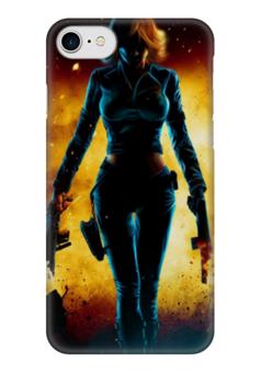 """Чехол для iPhone 7 глянцевый """"Black Widow (Мстители)"""" - comics, комиксы, мстители, черная вдова, black widow"""
