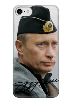 "Чехол для iPhone 7 глянцевый ""путин"" - стиль, путин, подпись"