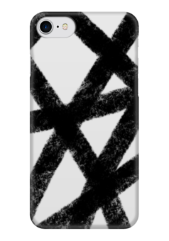 """Чехол для iPhone 7 глянцевый """"След от уголька"""" - черный, черно-белый, абстракция, уголь, графит"""
