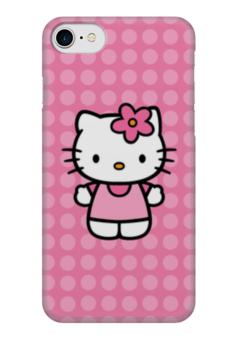 "Чехол для iPhone 7 глянцевый ""Kitty в горошек"" - мультик, hello kitty, мультфильм, для детей, привет китти"