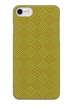 """Чехол для iPhone 7 глянцевый """"Горох в квадрате"""" - зеленый, квадрат, геометрия, коричневый, горох"""