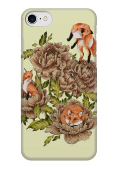 "Чехол для iPhone 7 глянцевый ""лисы в цветах"" - лисы, лиса, животные, цветы"
